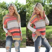 Multicolor Lace Long Sleeve Striped T-Shirt