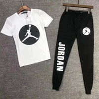 JORDAN Fashion Men Casual Short Sleeve Top Pants Set Two-Piece Sportswear