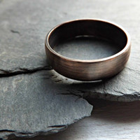 domed bronze ring rustic bronze ring 5 to 7 mm wide ring band mens ring modern ring oxidized matte finish rustic wedding ring