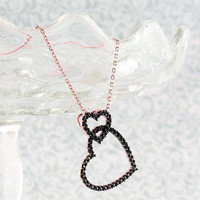 Black Double Heart Necklace in Rose Gold Plated Sterling Silver