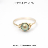 Faux Golden Pearl Ring - wire wrapped jewelry handmade - unique rings - custom