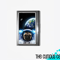 Business Card Case Outer space Pug Astro Pug Dog Metal Case Fits Business Credit Debit Key Cards and Standard Gift Cards