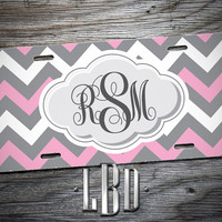 License Plate Personalized Cute Pink and Grey Script Monogram - Custom Car Tag CLP