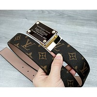 LV tide brand men and women models wild personality smooth buckle belt