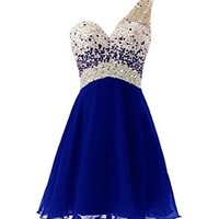 MissProm One Shoulder Homecoming Dress with Beadings Short Bridesmaid Dress