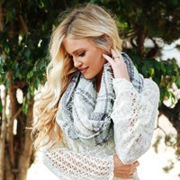 Plaid Fringe Infinity Scarf in Mint
