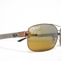 new RAY BAN RB8318CH 121/A2 Brown/Brown Mirror Polarized Chromance 62mm