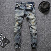 Slim Fit Yellow Tinted Ripped Blue Jeans