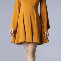 Marigold Wide Sleeve Flare Dress