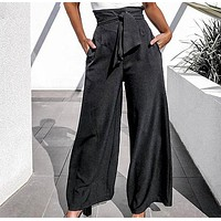 Women Fashion Black Long Pants Casual High Waist Wide Leg Trousers Female Large Size Lady Pants