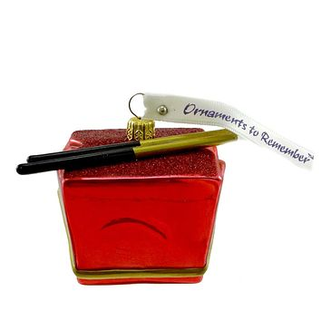Ornaments To Remember RED TAKE-OUT BOX  Glass Asian Food Container 25R2TOB003