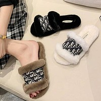 Dior CD plush slippers women new fashion outer wear plush slippers all-match non-slip flip-flops