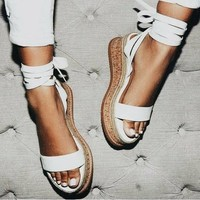 Flatform Lace Up Cork Bottom Sandals 4 Colors