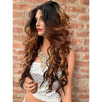 Brown Balayage Ombré Lace Hair Wig Invisible Parting | Porsche 0519