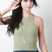 Rib Knit Racer Back Crop Top