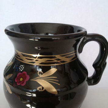 4 Mexican Hand Painted in Black Pot clay Mugs, Coffe mug, Chocolate mug, Cup of coffee, Tea cup, Pink Flower and Gold Folk, Mexican drinks