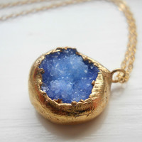 SALE Gold dipped druzy necklace