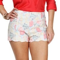 Coral Floral Scalloped Shorts