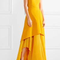Solace London - Serafine crepe de chine and pleated chiffon gown