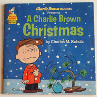 """Vintage """"A Charlie Brown Christmas"""" storybook and record, Christmas nostalgia, children's book"""