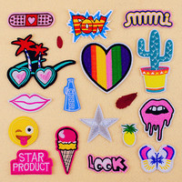 2016 Cute cartoon red pink fashion Embroidered patches for clothes Iron On patch girl's idea deal with clothing