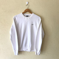 Rare!!Vintage 90's  NIKE  Swoosh Sweatshirt Big Logo Small Logo Embroidery Spell out Pullover Jumper White Colour small size