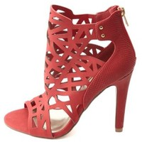 Laser Cut-Out Caged Single Sole Heels by Charlotte Russe - Red
