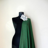 Dark Olive Green Shawl, Solid Color Pashmina, Elegant Scarf, Elegant Wrap, Bridesmaid Gift, Wedding Shawl, Removable Flower Brooch
