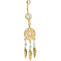 Clear Gem Gold Plated Glossy Dreamcatcher Dangle Belly Ring | Body Candy Body Jewelry