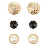 Hammered, Stone & Pearl Stud Earrings - 3 Pack - Gold
