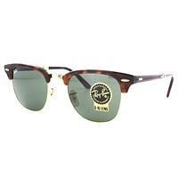 New Ray Ban Folding Clubmaster RB2176 990 Red Havana w/Green G-15 51mm