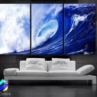 """LARGE 30""""x 60"""" 3 panels Art Canvas Print  Beach Ocean Sea Wave Blue White Wall (Included framed 1.5"""" depth)"""