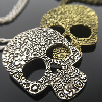 Sugar Skull Necklace - Day of The Dead Jewelry Flower Skull