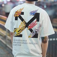 OFF-WHITE 2019 new tide brand flame arrow printing men and women with the same T-shirt white
