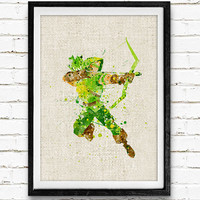 Arrow Watercolor Art Print, Comic Superhero Watercolor Poster, Boys Room Wall Art, Home Decor, Not Framed, Buy 2 Get 1 Free!