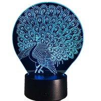 Peacock 3D LED Illusion Night Light Lamp