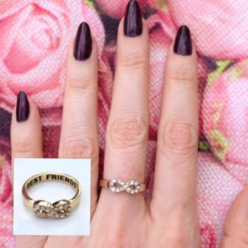 Best Friends Forever Crystal Infinity Ring Set