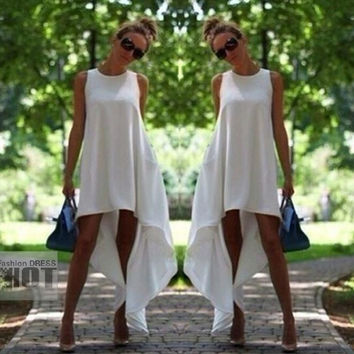 New Arrivals Casual Asymmetrical White Long Dress,Sexy Summer Maxi Beach Party Sun Dresses,Plus Size Clothing = 1946775620