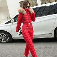 2Pcs Winter Womens Cotton Down Fur Collar Hooded Ski Suit Thicken Coats Peacoat&Pants Set Slim Fit 5Colors New 2020
