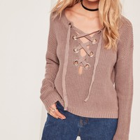 Missguided - Chunky Eyelet Lace Up Jumper Brown
