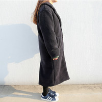 Long Button Up Coat (Navy)