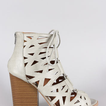 Qupid Lace Up Cutout Peep Toe Chunky Heel