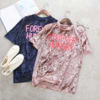 cute Letters of velvet T-shirt[9960648583]