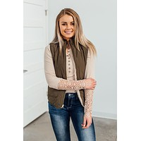Reversible Quilted Vest - Olive