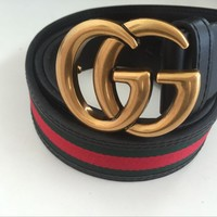 NEW Gucci Big G Dark Gold Metal Buckle Belt Men Leather Belt 46/115 With Box