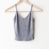 Knit V-neck Cami Crop Top - Grey