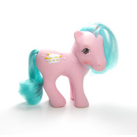 Banana Surprise My Little Pony Vintage G1 Sundae Best Ponies, Pink with Blue Green Hair