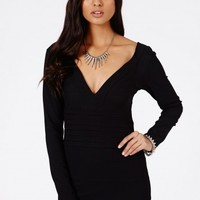 Missguided - Agrypina Bandage Long Sleeve Bodycon Dress In Black