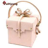New Cute Nude Pink Women Totes Bag PU Leather Handbag With Bow Creative Design Gift Box Flap Hand Bag Party Evening Bag