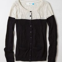 Climbing Cables Cardigan by Sparrow Black Motif S Sweaters
